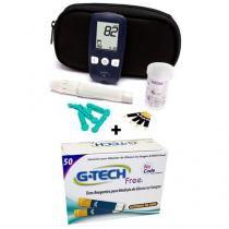 Tiras Reagentes 01 Caixa 50 Unidades + 01 Medidor de Glicose Sistema No Code - G-Tech -