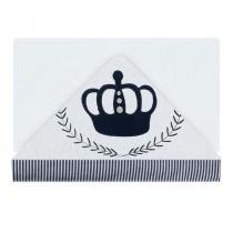 Toalha de Banho Aveludada C/ Capuz Bordado Coroa Branco/Marinho - Ateliê - Ateliê Pintando e Bordando
