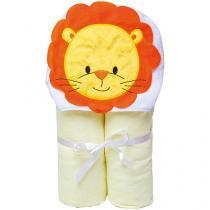 Toalha de Banho Bebê com Capuz Bordada - 100% Algodão Amarelo Papi Toys Leão