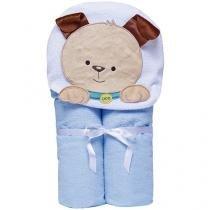 Toalha de Banho Bebê com Capuz Bordada - 100% Algodão Azul Papi Toys Cachorrinho