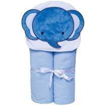 Toalha de Banho Bebê com Capuz Bordada - 100% Algodão Azul Papi Toys Elefante