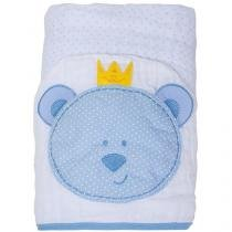 Toalha de Banho Bebê com Capuz Bordada - 100 Algodão Azul Papi Toys Urso