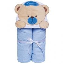 Toalha de Banho Bebê com Capuz Bordada - 100% Algodão Azul Papi Toys Urso