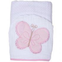Toalha de Banho Bebê com Capuz Bordada - 100 Algodão Rosa Papi Toys Borboleta