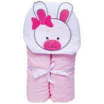 Toalha de Banho Bebê com Capuz Bordada - 100 Algodão Rosa Papi Toys Coelhinha