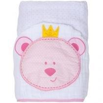 Toalha de Banho Bebê com Capuz Bordada - 100 Algodão Rosa Papi Toys Urso