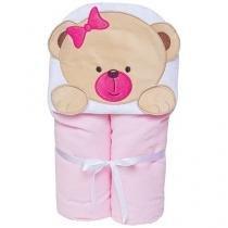 Toalha de Banho Bebê com Capuz Bordada - 100% Algodão Rosa Papi Toys Urso
