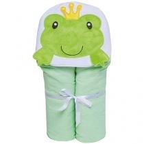 Toalha de Banho Bebê com Capuz Bordada  - 100 Algodão Verde Papi Toys Sapo