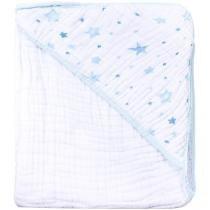 Toalha de Banho Bebê com Capuz Bordada Azul - 100 Algodão 118 Fios Papi Soft Celeste