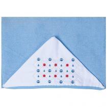 Toalha de Banho Bebê com Capuz Bordada - Azul Papi Mami Navy