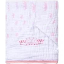 Toalha de Banho Bebê com Capuz Bordada Rosa - 100% Algodão 118 Fios Papi Soft Princesa