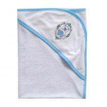 Toalha de banho bebê menino com capuz bordado george 70cm x 80cm - Tecebem