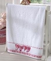Toalha de Banho P/ Bebê - Baby Kids - Ursinhos - Branco 0001 - P/ Bordar - Dohler -