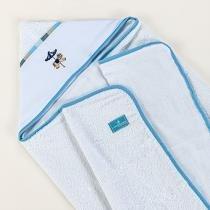 Toalha de Banho para Bebê Felpuda Carrossel Azul - A.constantini enxoval de bebê