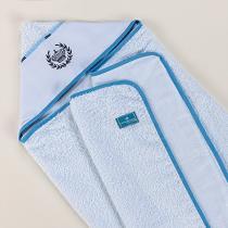 Toalha de Banho para Bebê Felpuda Coroa Azul - A.Constantini Enxoval de Bebê