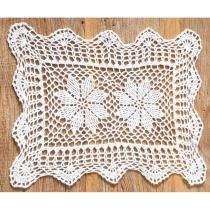Toalha de Crochê Branco 30x40cm - Corttex -