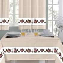 Toalha de mesa 1,45x 140m bule marrom - Sultan