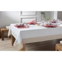 Toalha de Mesa Chamonix 2,20x2,20m Branco c/ Bege - Naturalle fashion