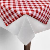 Toalha de Mesa Cobre Mancha Quadrado em Tecido Xadrez Vermelho e Branco 0,80m Festabox