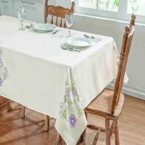 Toalha de mesa dalia 2,20x1,40 palha/lilas - Dourados enxovais