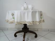 Toalha de mesa Flower 1,50mt redonda - Marfim/Bule bege - Flor d liza