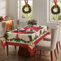 Toalha de Mesa Natal 76 - Retangular 8 Lugares - 100 Algodão - Genebra - Dohler -