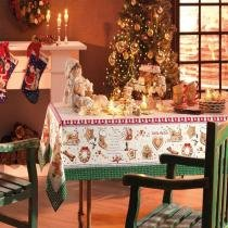 Toalha de Mesa Receita Noel - Redonda 6 Lugares - 100 Algodão - Natal - Karsten -