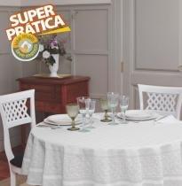 Toalha de Mesa Redonda 4 Lugares Gardênia Elegance Branca - Lepper