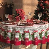 Toalha de Mesa Redonda Então É Natal 6p 178 cm - Karsten - Natal - Karsten