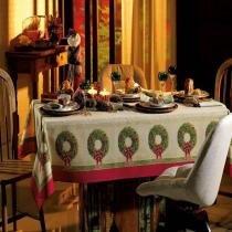 Toalha de Mesa Tempo de Festas - Redonda 6 Lugares - 100 Algodão - Natal - Karsten -