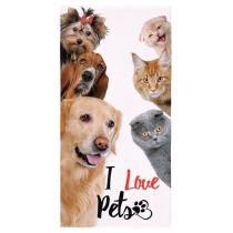 0613fa6ec74c Toalha de Praia Lepper Aveludada I Love Pets Dog n Cats -