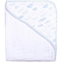Toalha para Banho Bebê com Capuz Branca e Azul - 100 Algodão 118 Fios Papi Soft Vôo