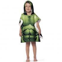 Toalha Poncho infantil Estampada com Capuz Avengers Hulk - Lepper - Verde - Lepper
