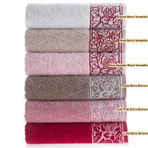 Toalha Rosto Versati Kimber 48x80 Lady Pink Barra Branca - Karsten - Karsten