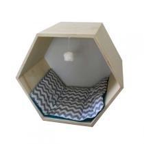 Toca Hello Pet Hexagonal Cinza com Verde para Gatos - Hello Pet