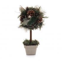 Topiaria Árvore de Mesa C/ Pinha Decoração Natal 27cm Verde - Cromus