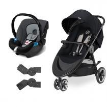 Travel System Agis M-Air3 Stardust Black + Aton + Adaptador - Cybex
