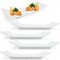 Travessa Retangular Ondulada para Sushi e Finger Food Branca 5 Unidades  utilgoods -