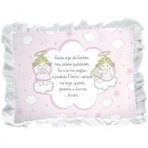 Travesseiro Babado Oração Anjinho da Guarda Rosa - Incomfral - Incomfral