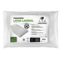 Travesseiro Látex Lavável Plus Sintético Para Fronhas 50x70 cm - Branco - Fibrasca