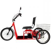 Triciclo Elétrico 800W Aro 20 Freio a Disco Confort Vermelho - Duos