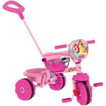 Triciclo Infantil Bandeirante com Empurador - Smart Princesas Disney Haste Removível