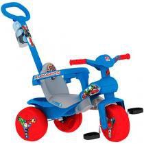 Triciclo Infantil Bandeirante com Empurador - Vingadores Haste Removível Porta Objetos