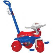 Triciclo Infantil Bandeirante Homem Aranha - Motoban Passeio Haste Removível