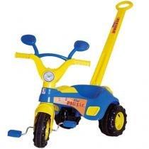 Triciclo Infantil Blue Music com Haste e Buzina 1832 - Cotiplás - Cotiplás