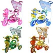 Triciclo Infantil com Capota q2x1 - Vira Gangorra. - Rosa - Bel Fix