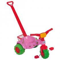 Triciclo Infantil Tico Tico Moranguita 2373 Magic Toys com Haste -