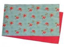 Trilho de Mesa de Tecido Floral Verde e Vermelho  180x43 CM - Americanos  Cia -