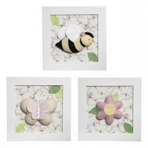 Trio De Quadros Flora Quarto Bebê Infantil Menina - Potinho de mel