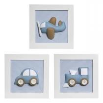 Trio De Quadros Transporte Quarto Bebê Infantil Menino - Potinho de mel